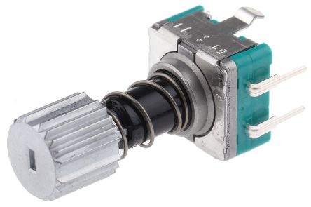 Alps Alpine 15 Pulse Incremental Mechanical Rotary Encoder with a 9 mm Knurl Shaft (Not Indexed), Through Hole