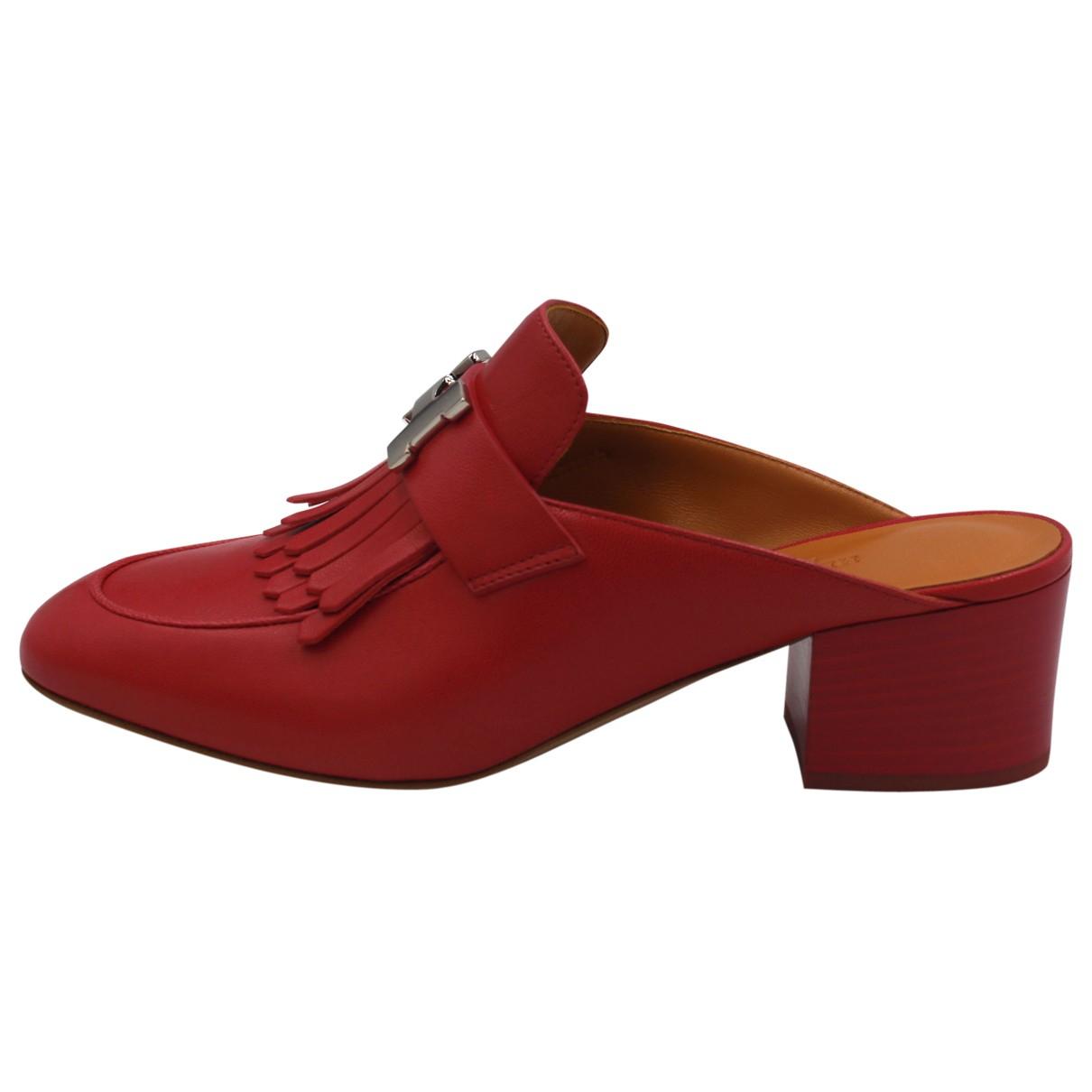 Hermes - Mocassins Paradis pour femme en cuir - rouge