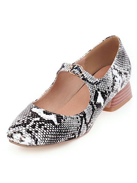 Milanoo Women\'s Mid-Low Heels Mary Jane Square Toe Block Heel Snake Print Pumps