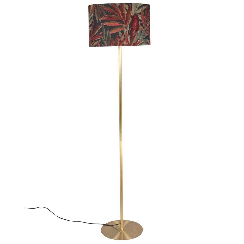 Stehlampe aus Metall, goldfarben und Lampenschirm, schwarz, gruen und rot mit Druckmotiv H156