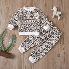 Toddler Girls Allover Print Ruffle Trim Sweatshirt & Sweatpants