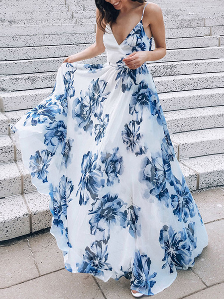 Milanoo Maxi Dresses Sleeveless White Floral Print V-Neck Lace Up Backless Polyester Long Dress