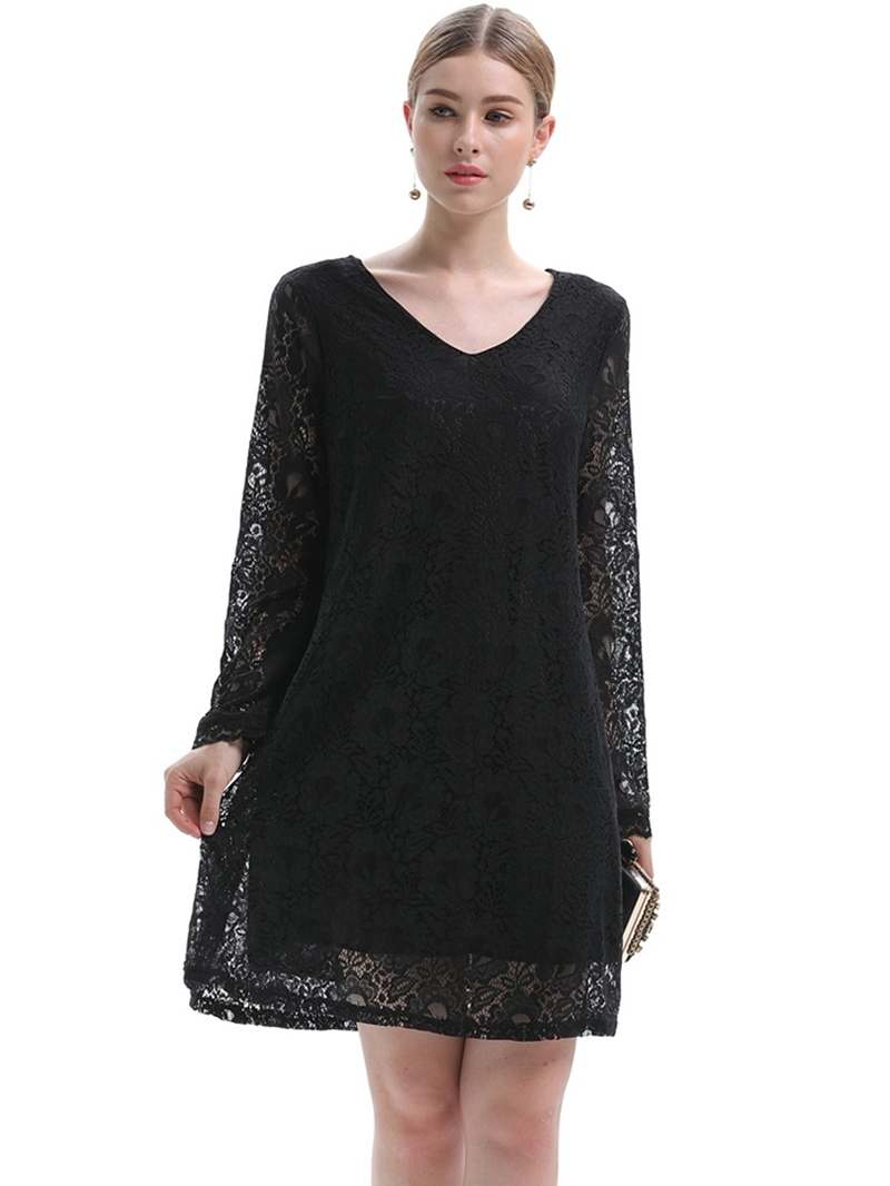 Ericdress Plus Size Long Sleeve Above Knee Lace Pullover Going Out Dress