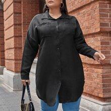 Longline Bluse mit Tier Muster Ruecken und zwei Taschen