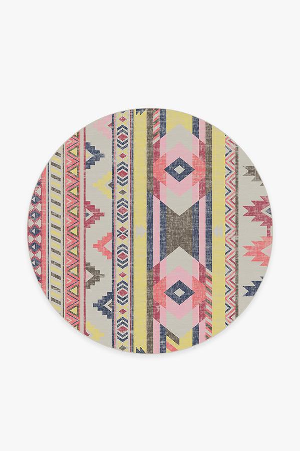 Washable Rug Cover   Kilim Batik Pink Rug   Stain-Resistant   Ruggable   6' Round