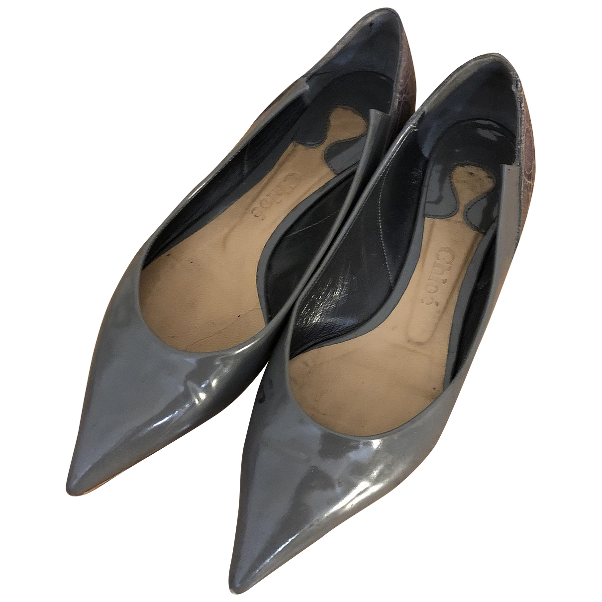 Chloe \N Ballerinas in  Grau Lackleder