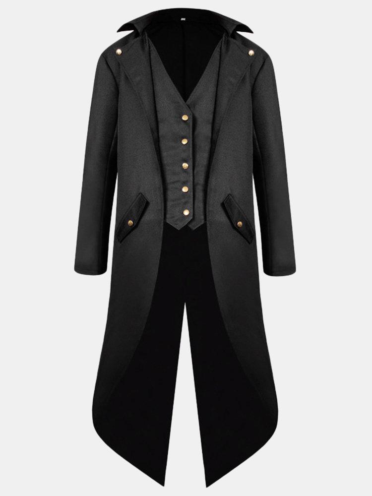 Mens Mid Long Style Vintage Tuxedo Cosplay Banquet Wedding Fashion Blazer