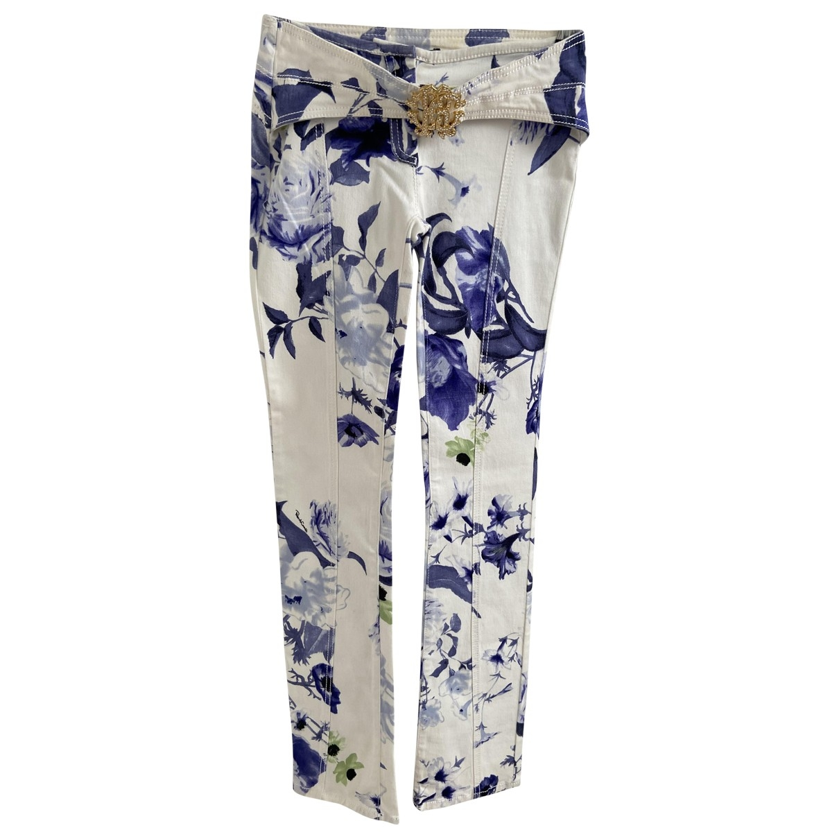 Roberto Cavalli \N White Cotton Trousers for Women 40 IT