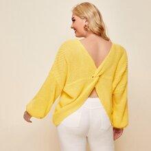Plus Drop Shoulder Twist Back Sweater