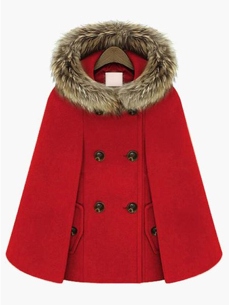 Milanoo Hooded Cape Coat Double Breast Faux Fur Trim Woolen Coat Poncho Cloak For Women