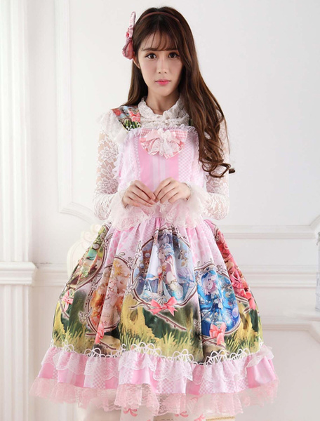 Milanoo Classical Pink Lace Polyester Lolita Jumper Skirt