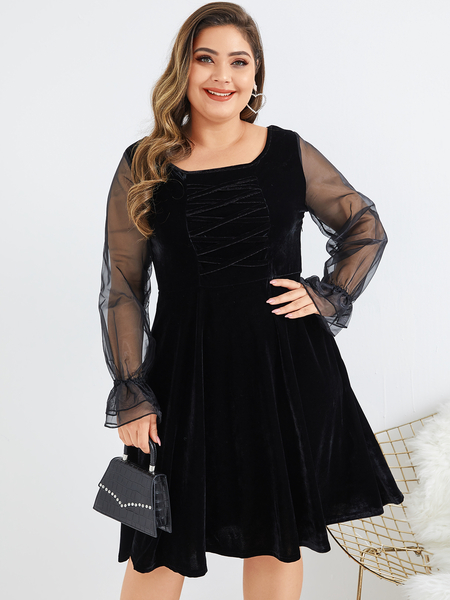 Yoins Plus Size Black Mesh Patchwork Scoop Neck Long Sleeves Dress