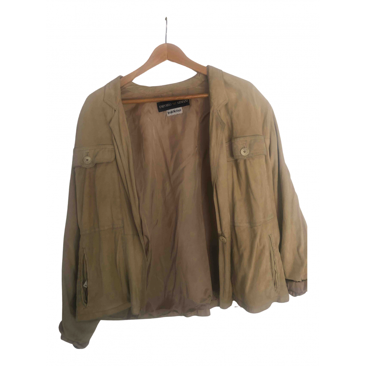 Emporio Armani \N Beige Leather jacket for Women 44 FR