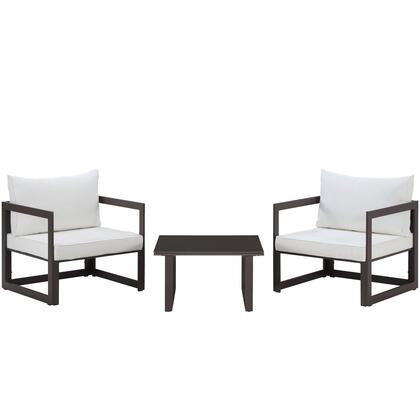 Fortuna Collection EEI-1722-BRN-WHI-SET 3-Piece Outdoor Patio Sectional Sofa Set with Side Table and 2 Armchairs in Brown and
