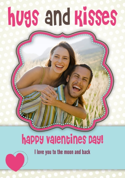 Valentine's Cards 5x7 Cards, Premium Cardstock 120lb, Card & Stationery -Valentine Hugs and Kisses