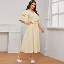 Surplice Neck Layered Sleeve Belted Flare Dress