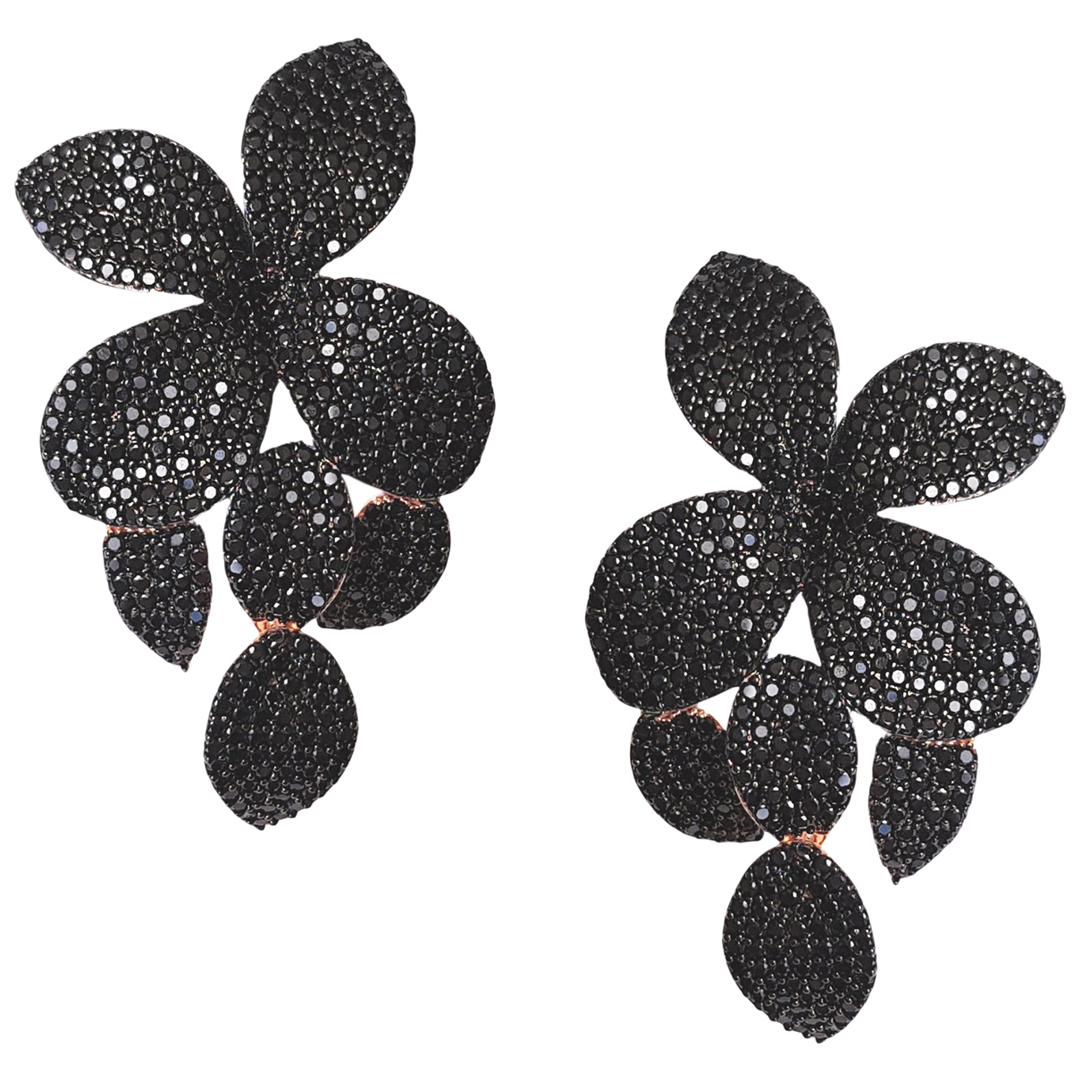 Non Signé / Unsigned Motifs Floraux Black Crystal Earrings for Women N