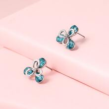 Rhinestone Inlaid Stud Earrings