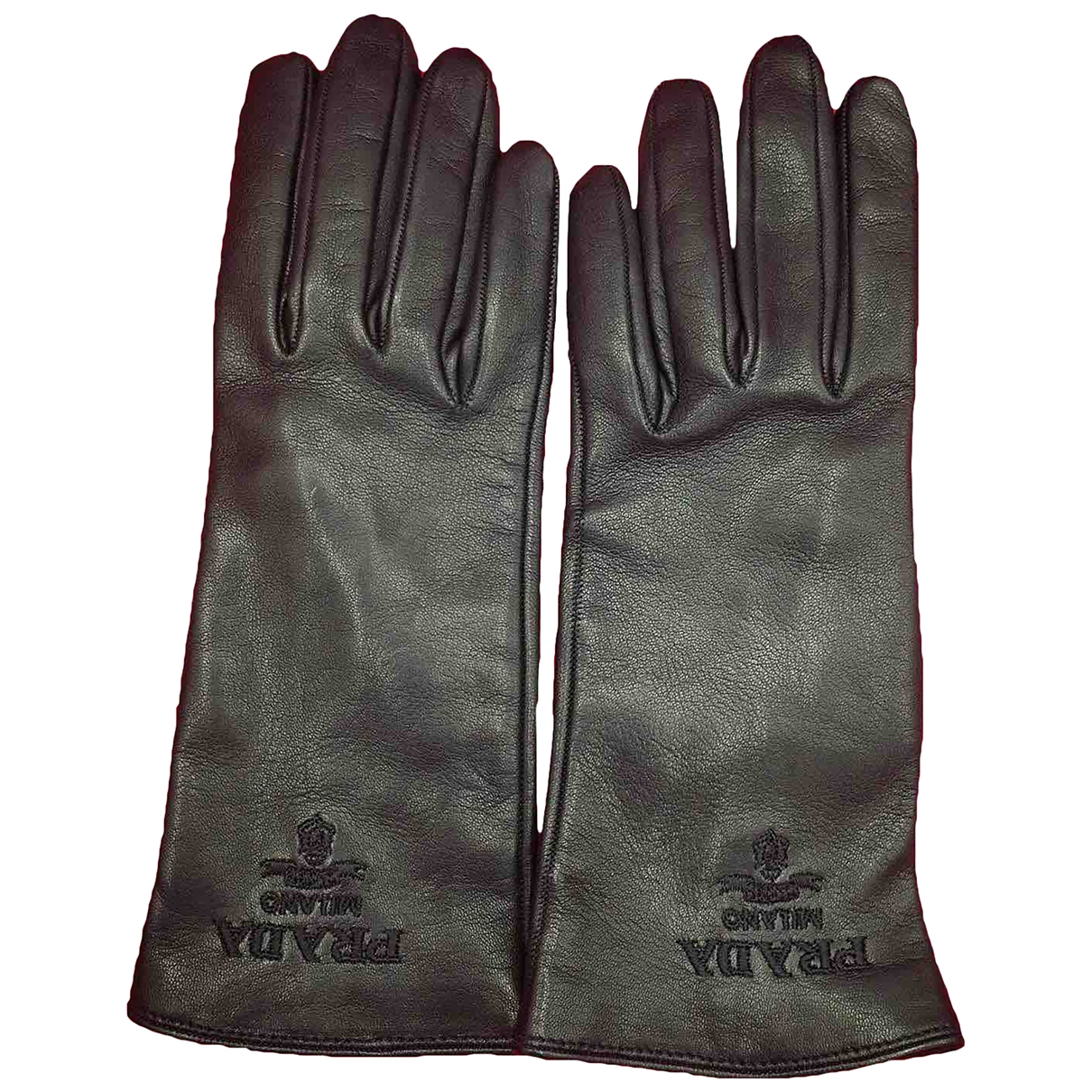 Prada \N Black Leather Gloves for Women 6.5 Inches