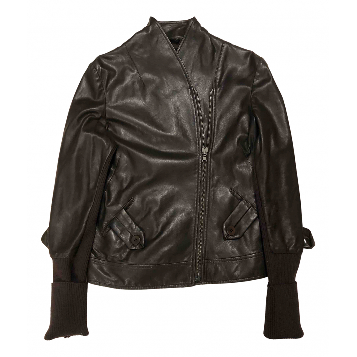 Non Signé / Unsigned N Brown Leather Leather jacket for Women 40 IT