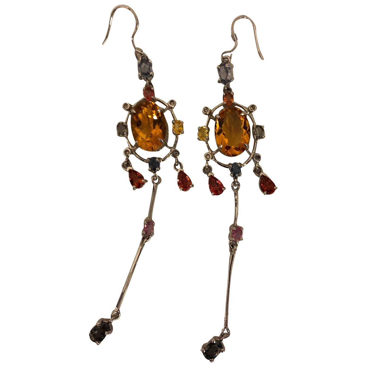 Non Signé / Unsigned Motifs Ethniques Multicolour Silver Earrings for Women \N