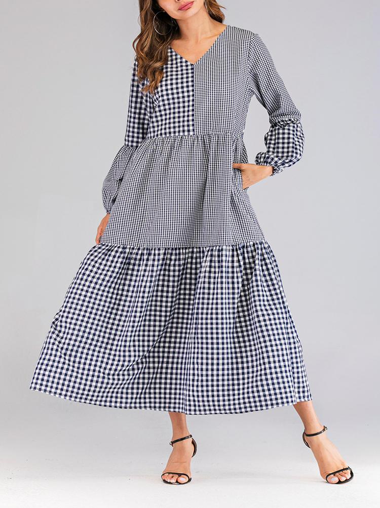 Women Plaid Patchwork V-neck Puff Sleeve Kaftan Dress