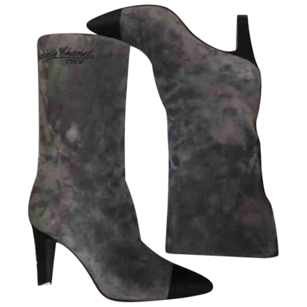 Chanel - Bottes   pour femme en suede - gris