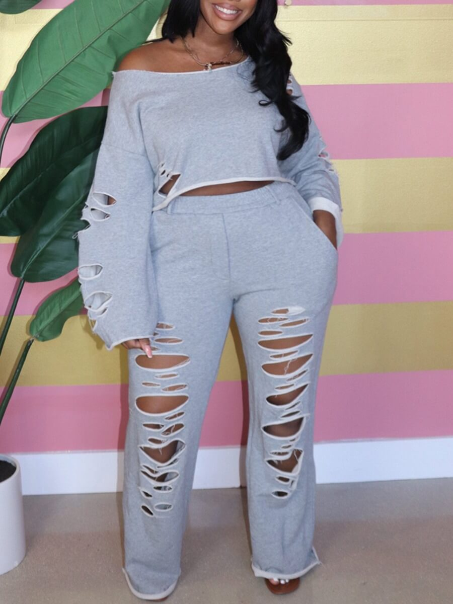 LW Lovely Casual Off The Shoulder Broken Holes Grey Plus Size Two-piece Pants Set
