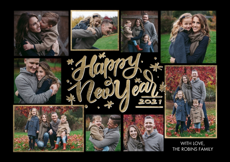 New Year's Photo Cards 5x7 Cards, Standard Cardstock 85lb, Card & Stationery -New Year 2021 Gold Frames by Tumbalina