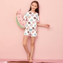 Schlafanzug Set mit ueberallem Donut Muster