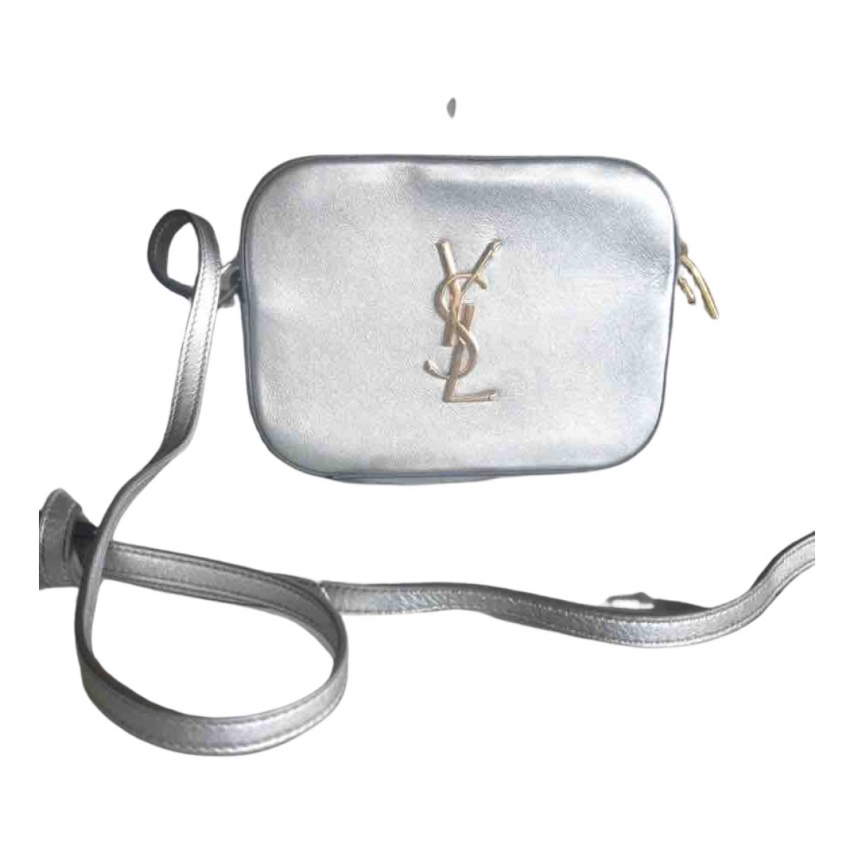 Saint Laurent Blogger Handtasche in  Silber Leder