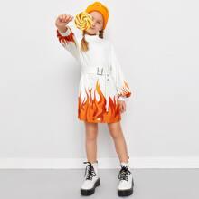 Kleid mit Feuer Muster und Selbstguertel