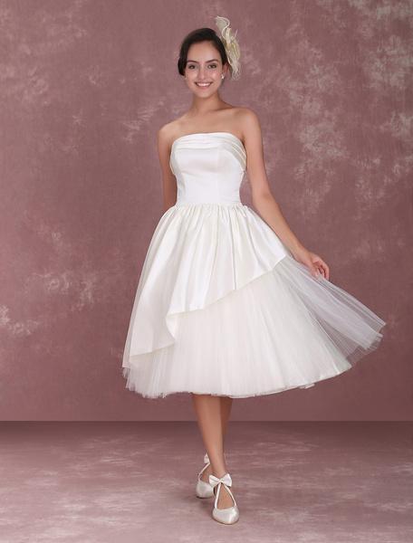 Milanoo Tea-Length Ivory Ruffled Wedding Dress with A-Line Spaghetti Straps