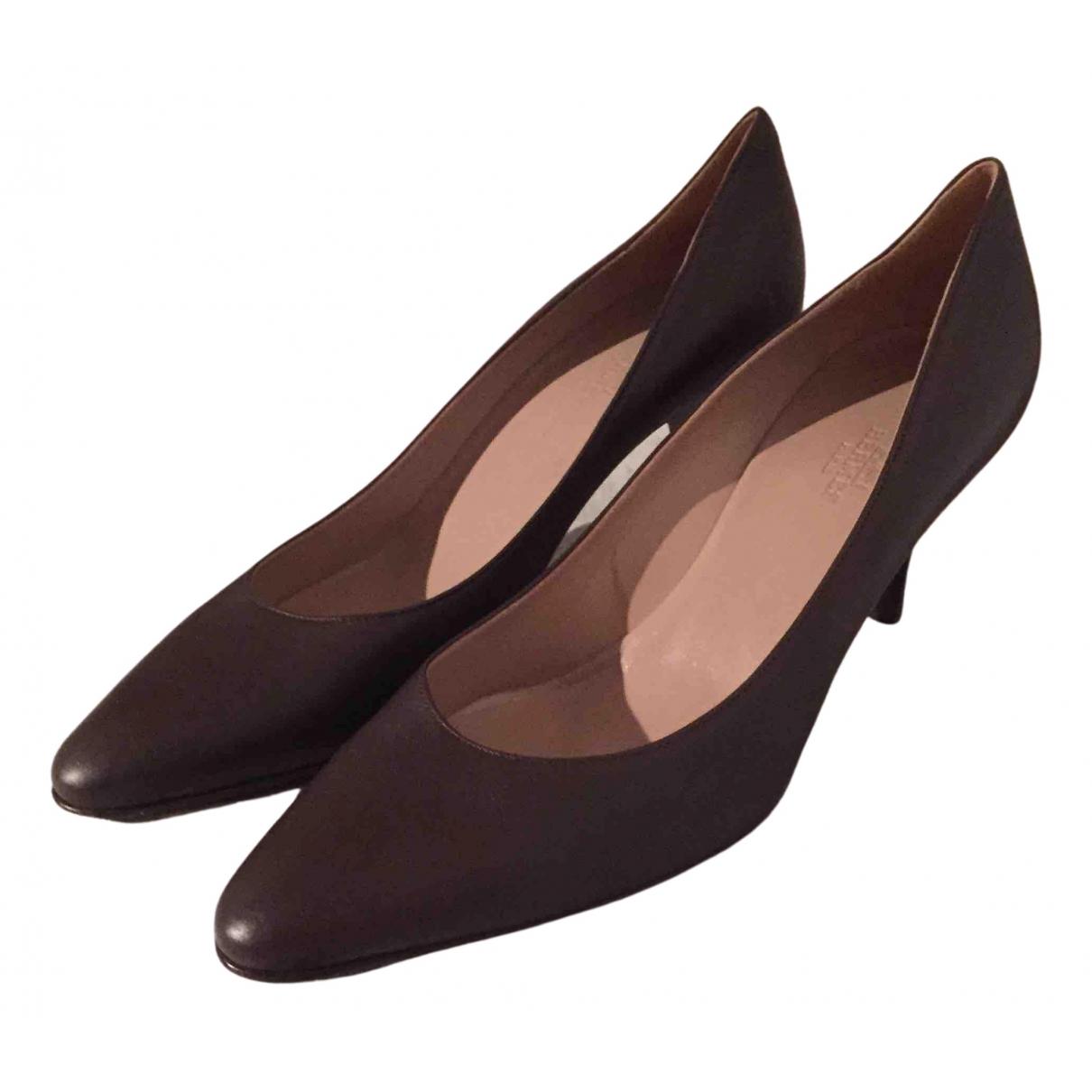 Hermes - Escarpins   pour femme en cuir - marron