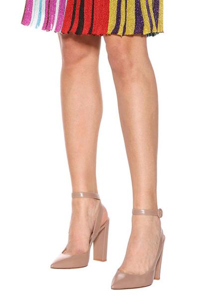 Milanoo Tacones altos desnudos de las mujeres en punta zapatos de vestir de correa de tobillo Slingbacks