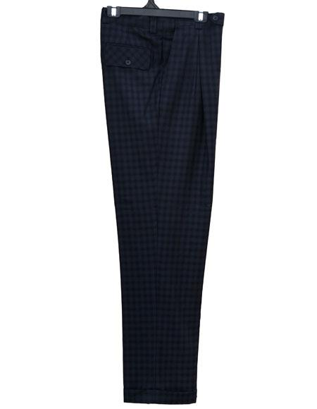Mens Real Window Pane ~ Plaid Wide Leg Pants Blue