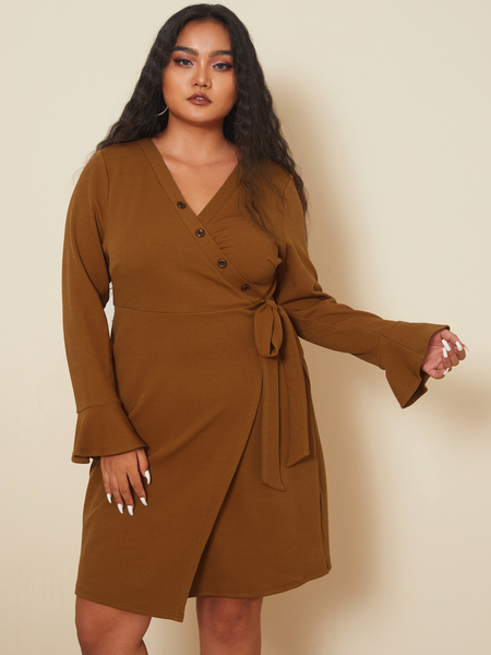 YOINS Plus Size V-neck Tie-up Design Wrap Design Long Sleeves Dress