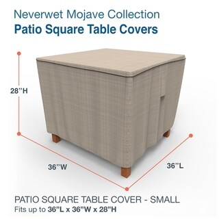 Budge Square Waterproof Outdoor Patio Table Cover, NeverWet® Mojave, Black Ivory, Multiple Sizes (Small - 28