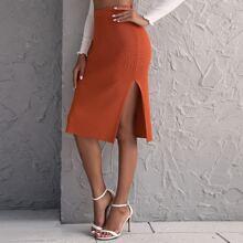 Neon Orange Button Side Knit Skirt