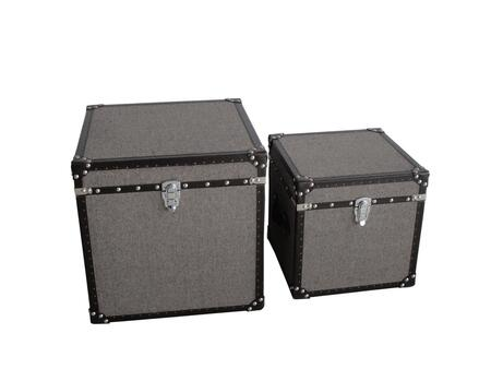 BM205932 Fabric Upholstered Square Trunk with Nailhead Details  Gray  Set of