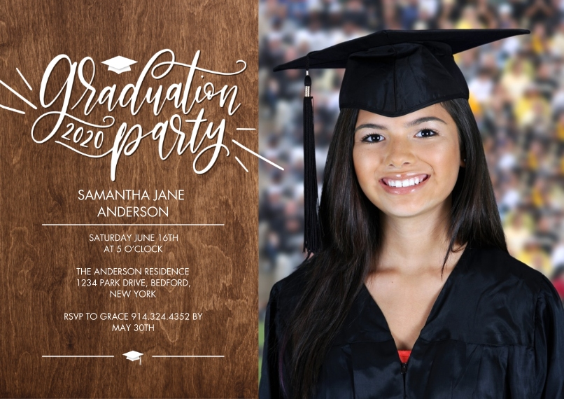 Graduation Invitations Flat Glossy Photo Paper Cards with Envelopes, 5x7, Card & Stationery -Graduation Party Script by Tumbalina