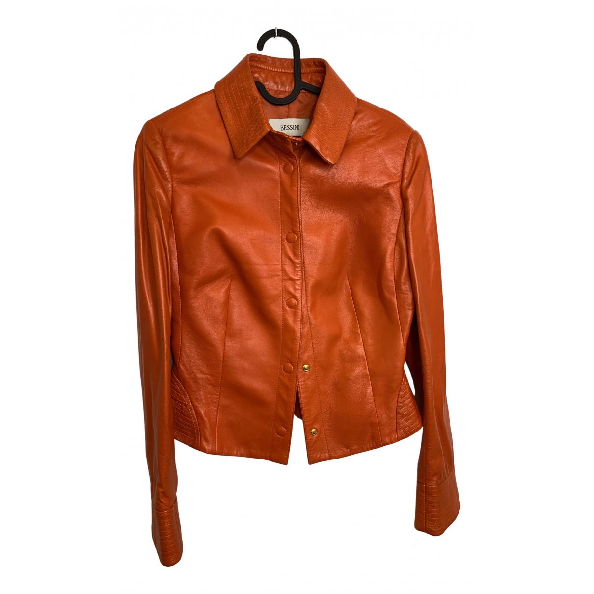 - Veste   pour femme en cuir - orange