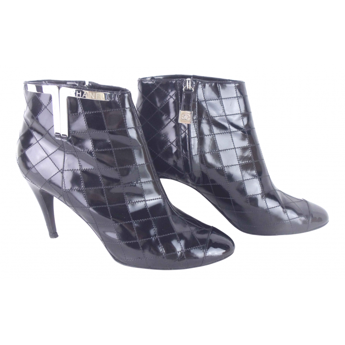 Chanel N Black Patent leather Ankle boots for Women 38 EU