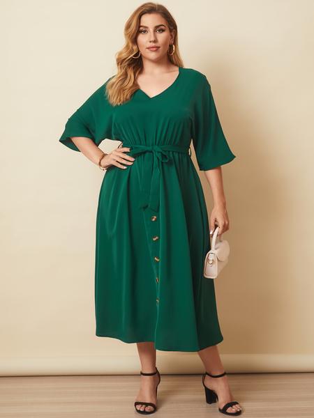 Yoins Plus Size V-neck Belt Design Button Design 3/4 Length Sleeves Midi Dress