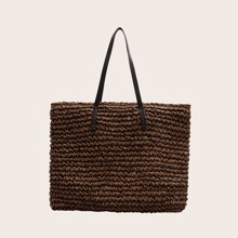 Double Handle Braided Tote Bag