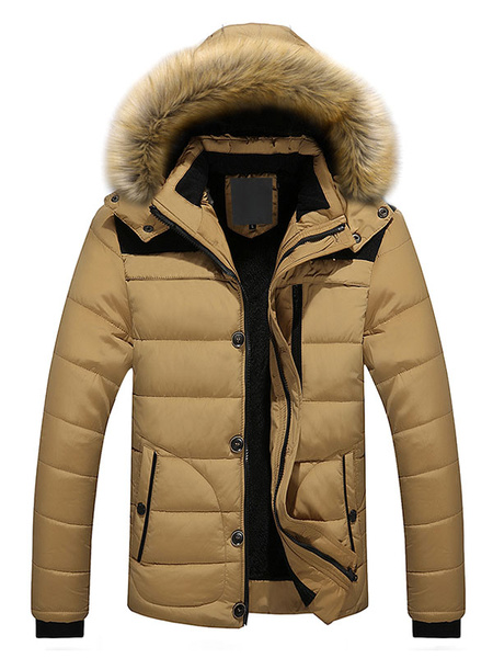 Milanoo Men Quilted Coat Black Winter Coat Hoodie Long Sleeve Puffer Coat