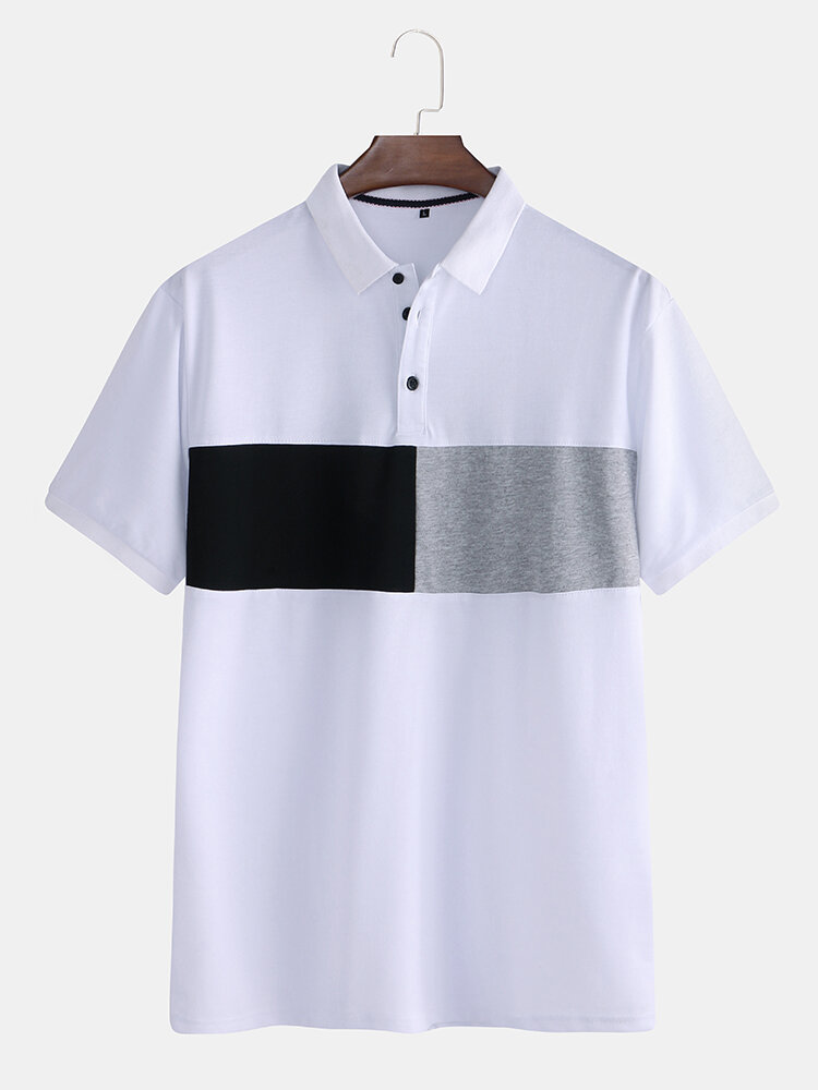 Mens 100% Cotton Patchwork Color Block Short Sleeve Golf Shirt