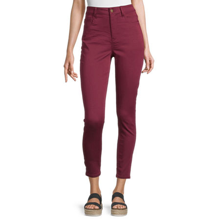 Arizona-Juniors Womens High Rise Skinny Fit Ankle Pant, 9 , Red