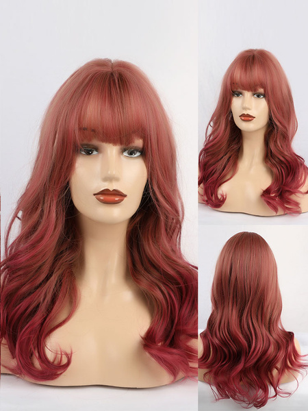 Milanoo Long Wig For Woman Burgundy With Bangs Fringe Rayon Casual Tousled Long Synthetic Wigs