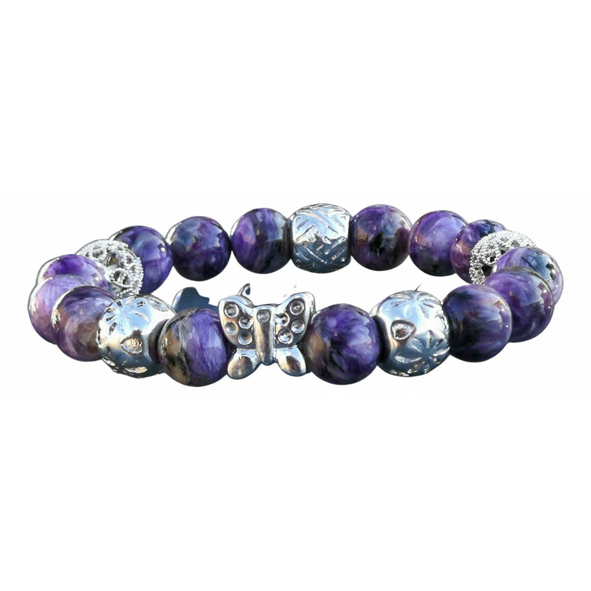 Non Signe / Unsigned \N Armband in  Lila Stahl